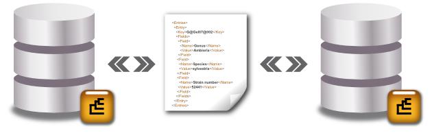 Data exchange via XML files
