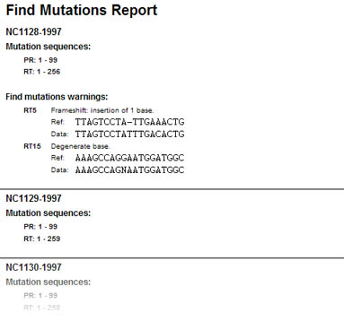 Find mutations report